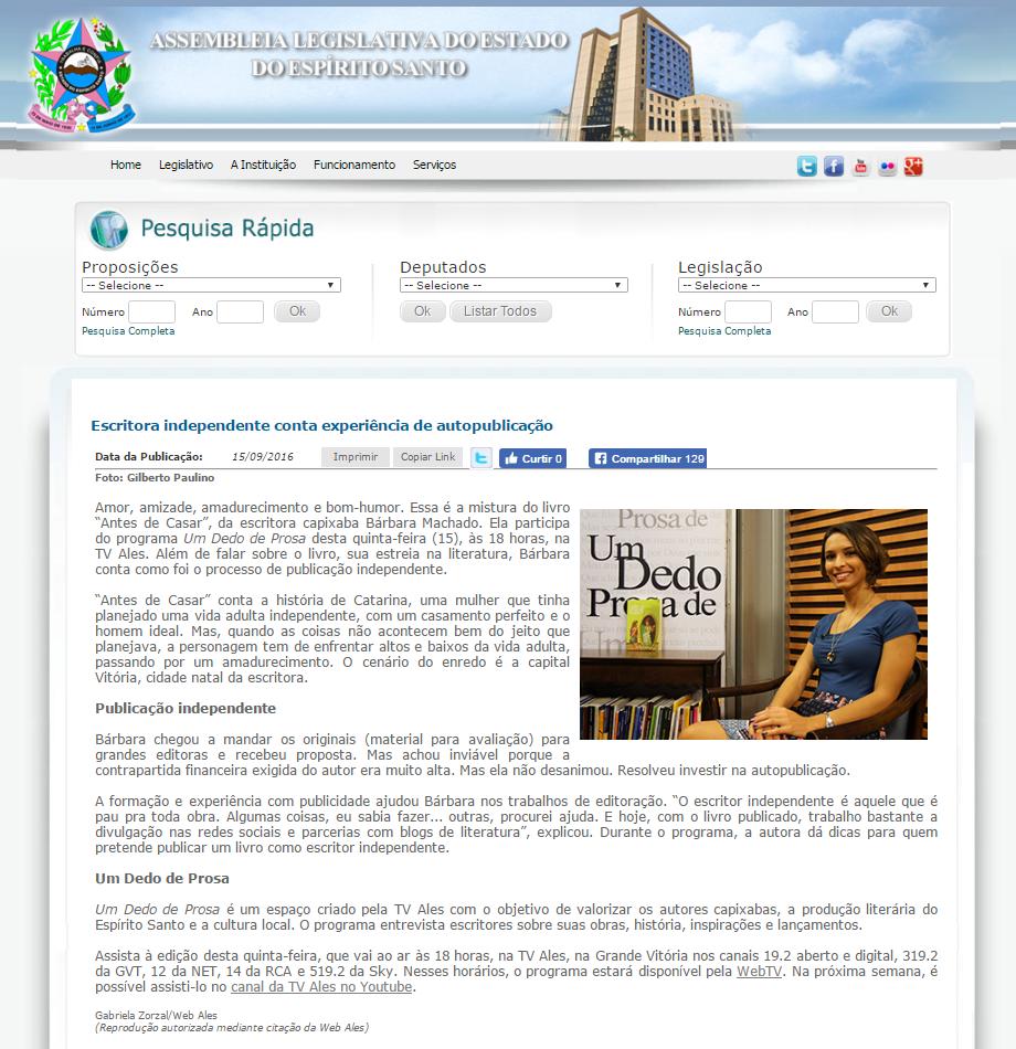 Notícia Ales 15.9.16 - Um Dedo de Prosa.png